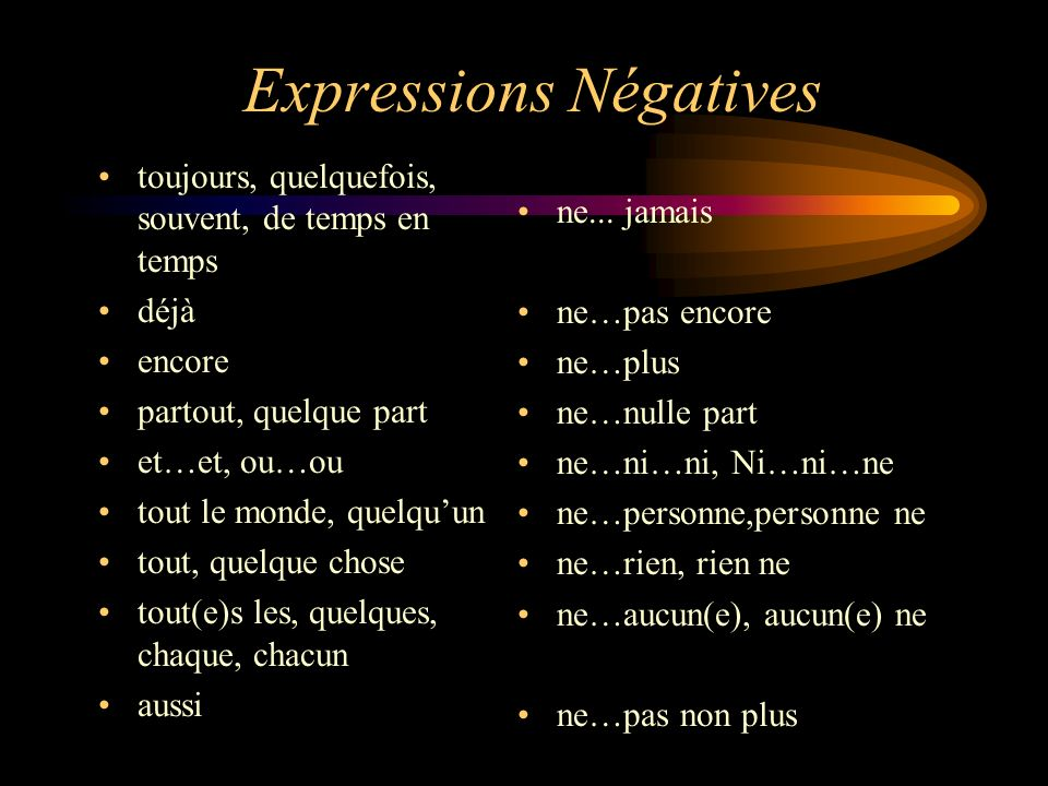 Expressions Négatives