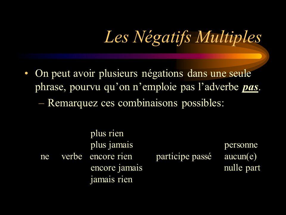 Les Négatifs Multiples