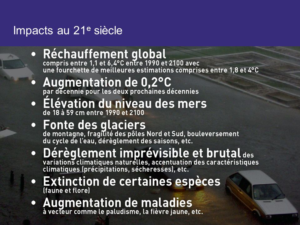 Impacts au 21e siècle