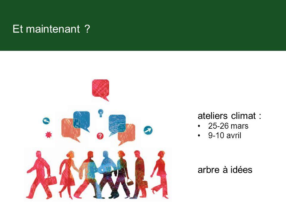 Et maintenant ateliers climat : 25-26 mars 9-10 avril arbre à idées
