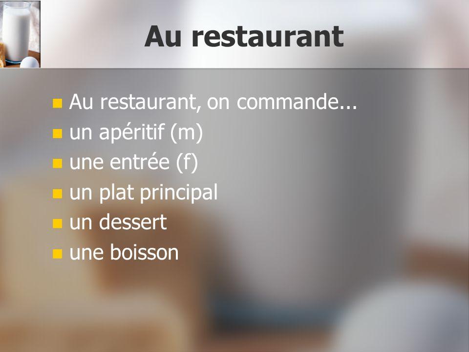 Au restaurant Au restaurant, on commande... un apéritif (m)
