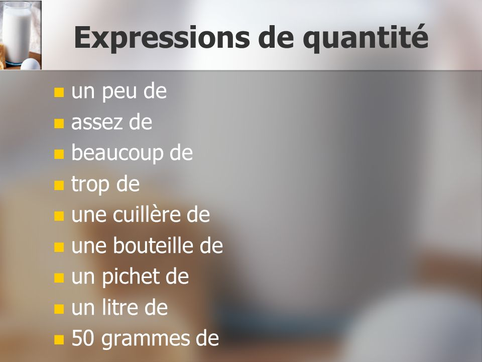 Expressions de quantité