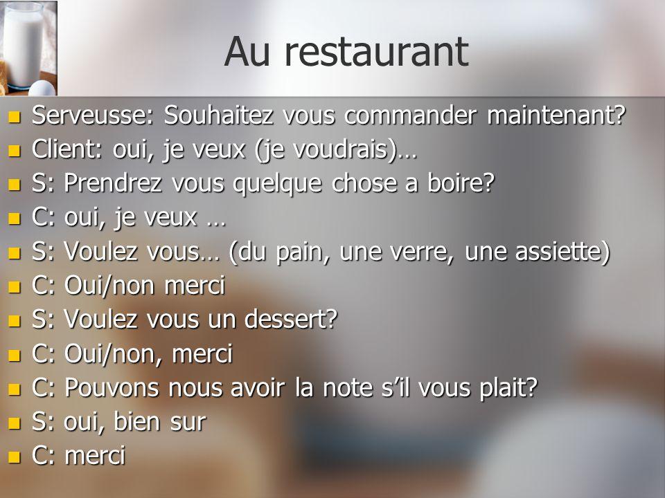 Au restaurant Serveusse: Souhaitez vous commander maintenant