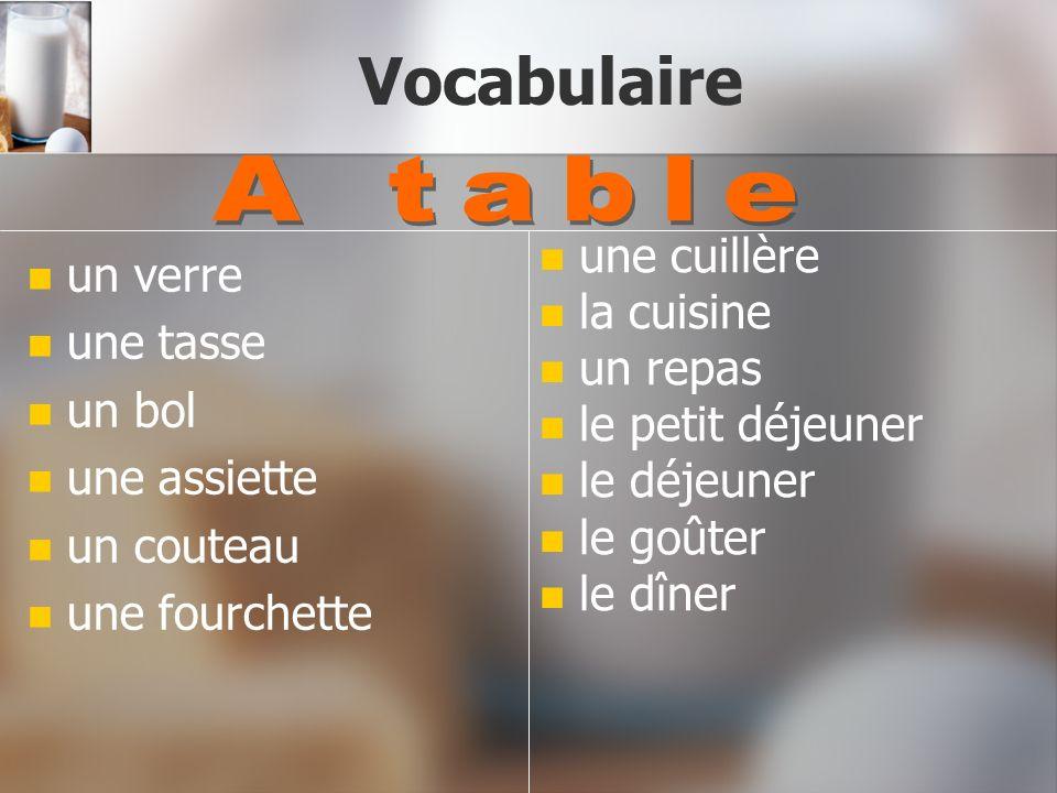 Vocabulaire A table une cuillère un verre la cuisine une tasse