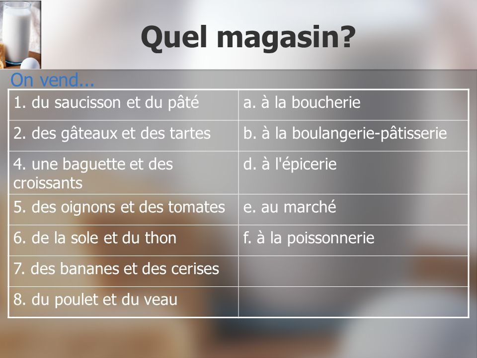 Quel magasin On vend... 1. du saucisson et du pâté a. à la boucherie