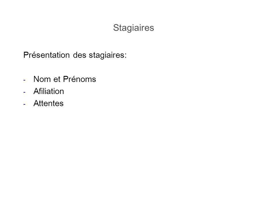 Stagiaires Présentation des stagiaires: Nom et Prénoms Afiliation