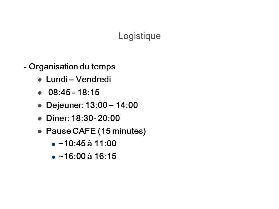 Logistique - Organisation du temps Lundi – Vendredi 08:45 - 18:15