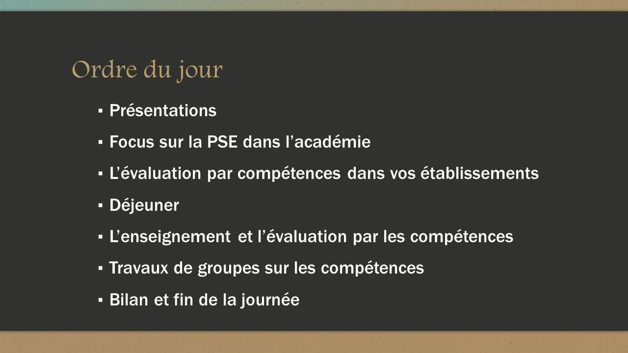 Ordre du jour Présentations Focus sur la PSE dans l'académie