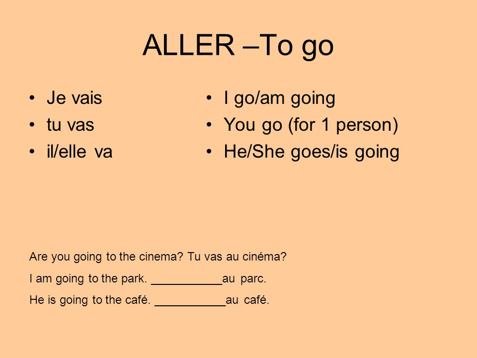 ALLER –To go Je vais tu vas il/elle va I go/am going