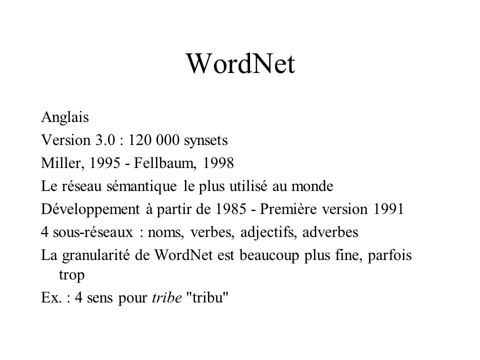 WordNet Anglais Version 3.0 : 120 000 synsets