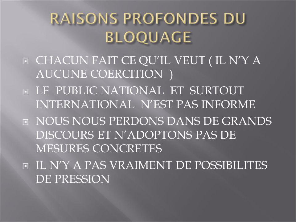 RAISONS PROFONDES DU BLOQUAGE