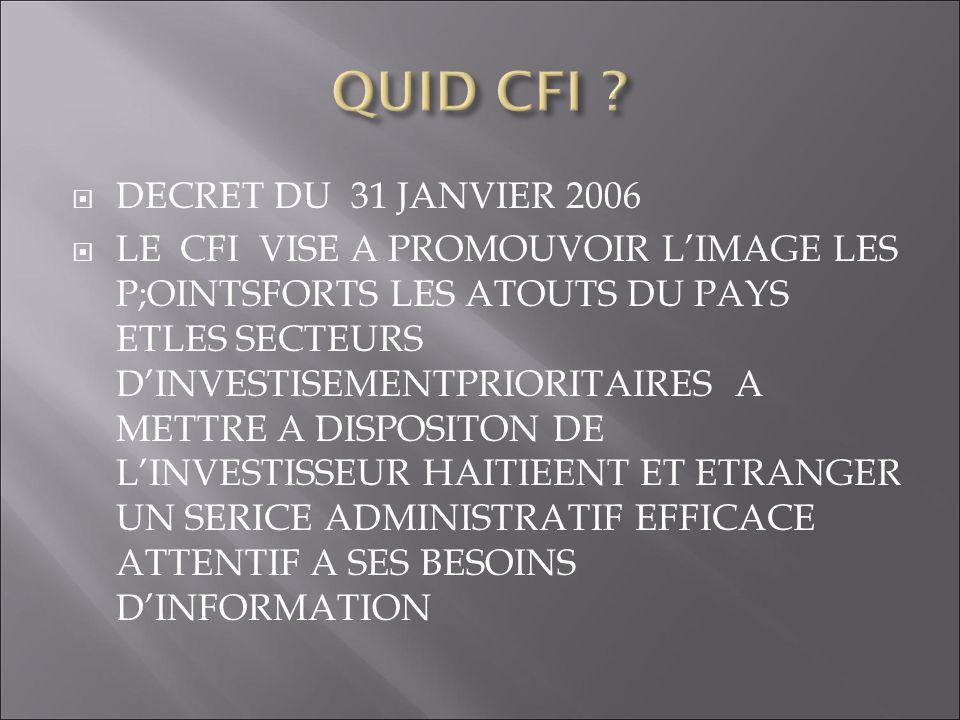 QUID CFI DECRET DU 31 JANVIER 2006