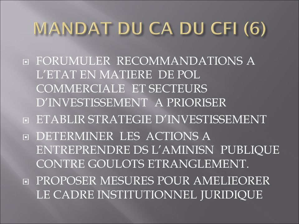 MANDAT DU CA DU CFI (6) FORUMULER RECOMMANDATIONS A L'ETAT EN MATIERE DE POL COMMERCIALE ET SECTEURS D'INVESTISSEMENT A PRIORISER.