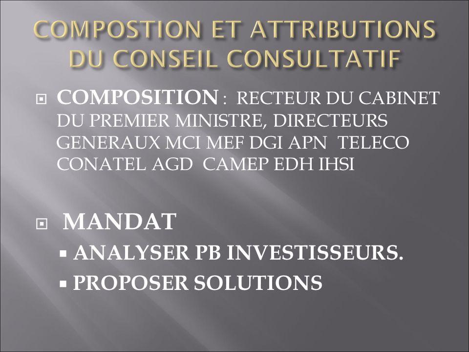 COMPOSTION ET ATTRIBUTIONS DU CONSEIL CONSULTATIF