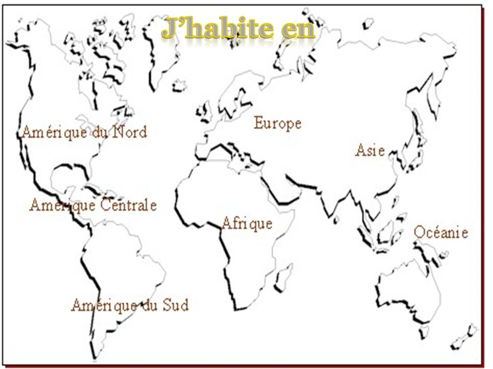J'habite en Link with geography- How many do they knoAttention :pays qui finit avec -e est féminin.