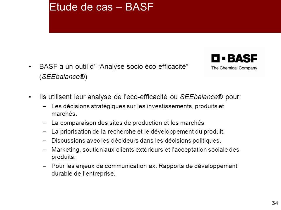 Etude de cas – BASF BASF a un outil d' Analyse socio éco efficacité