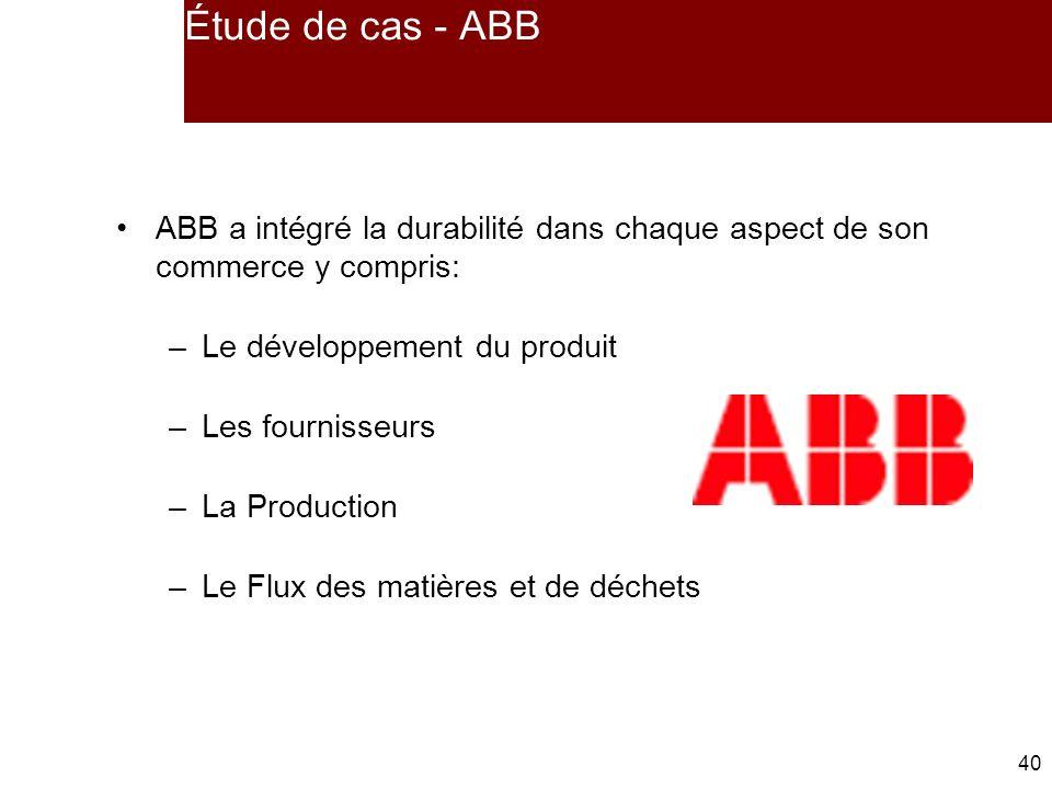 Étude de cas - ABB ABB a intégré la durabilité dans chaque aspect de son commerce y compris: Le développement du produit.