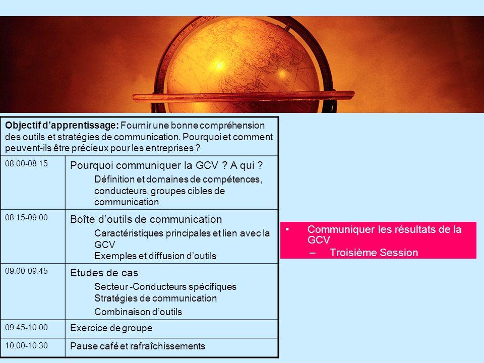 Pourquoi communiquer la GCV A qui