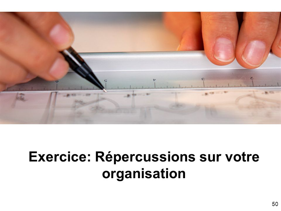 Exercice: Répercussions sur votre organisation