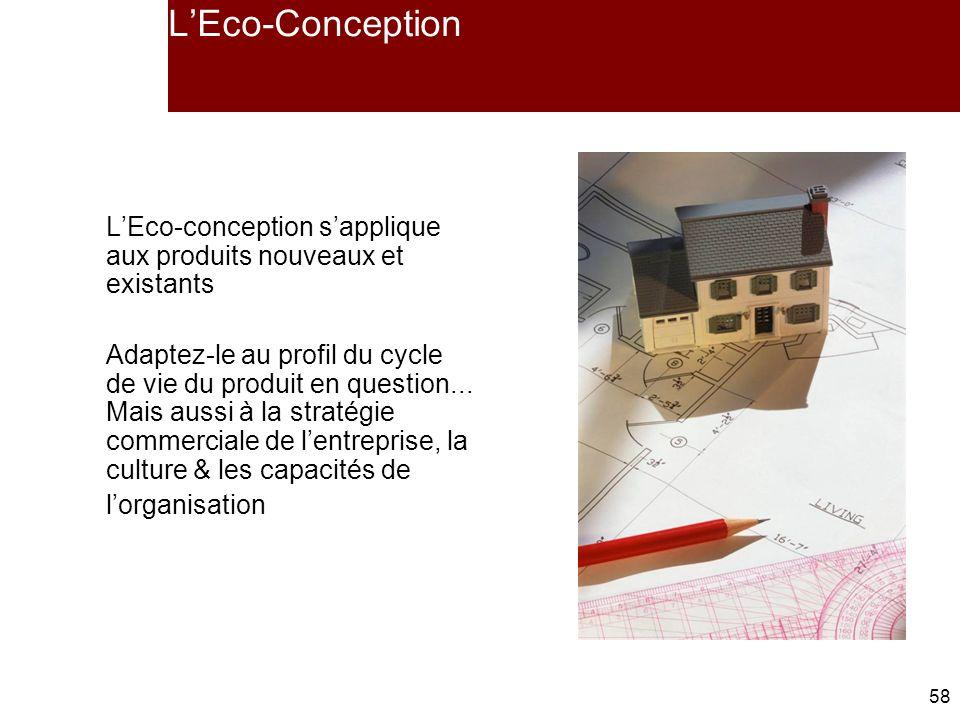 L'Eco-Conception L'Eco-conception s'applique aux produits nouveaux et existants.
