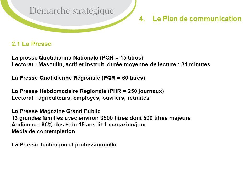 Démarche stratégique 4. Le Plan de communication 2.1 La Presse