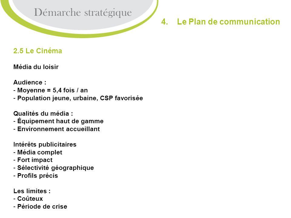 Démarche stratégique 4. Le Plan de communication 2.5 Le Cinéma