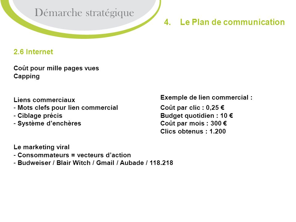 Démarche stratégique 4. Le Plan de communication 2.6 Internet