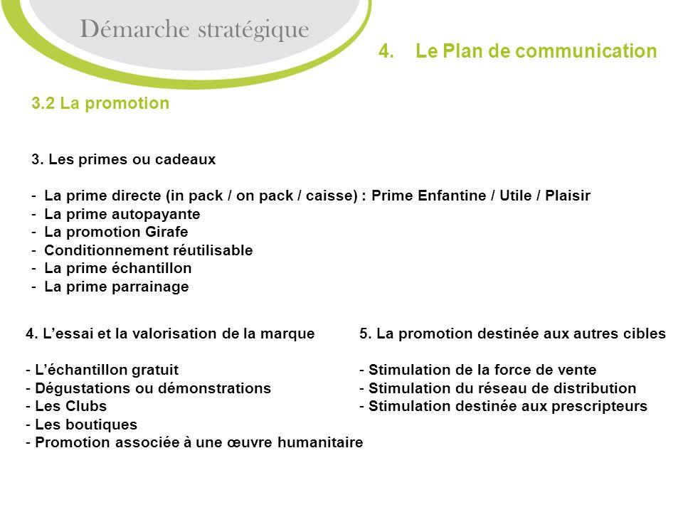 Démarche stratégique 4. Le Plan de communication 3.2 La promotion