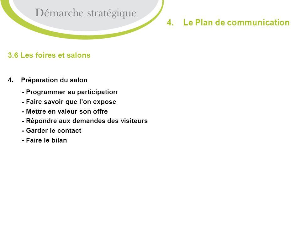 Démarche stratégique 4. Le Plan de communication