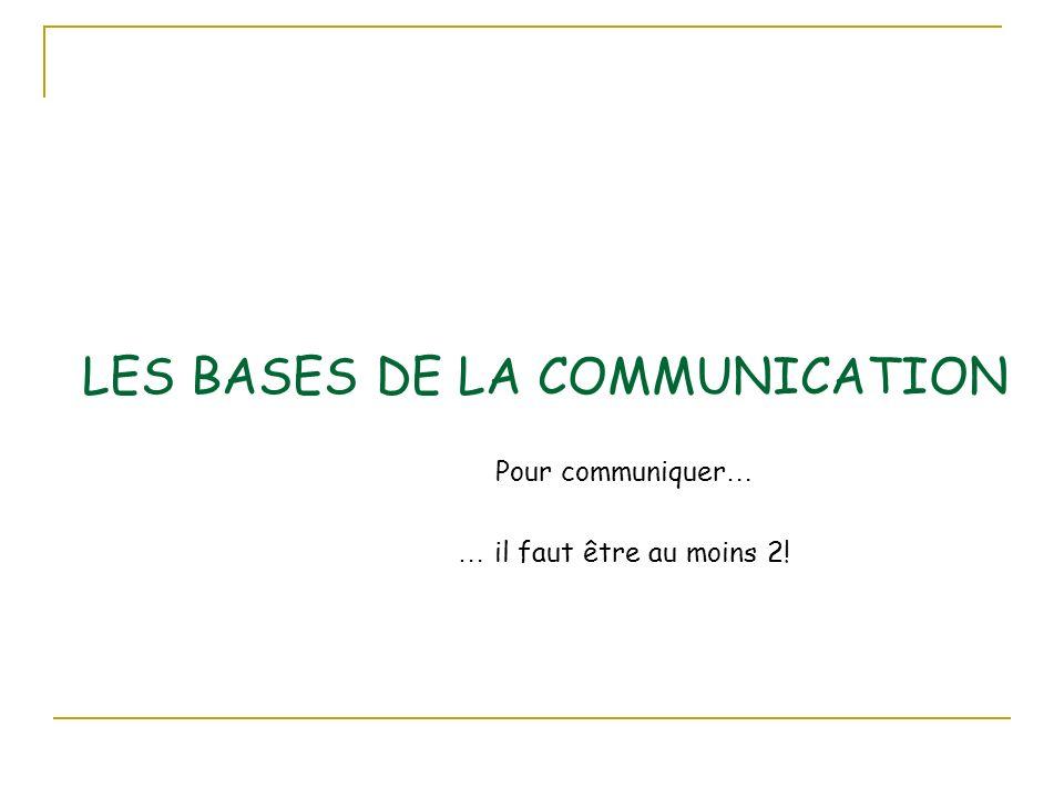 LES BASES DE LA COMMUNICATION