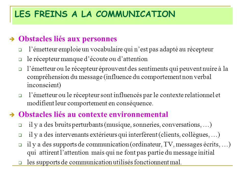 LES FREINS A LA COMMUNICATION