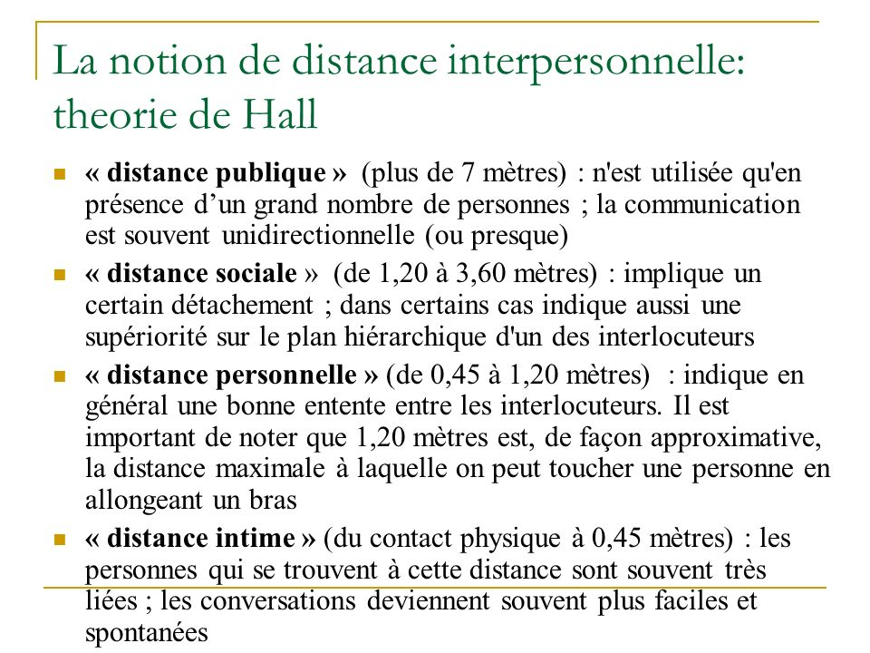 La notion de distance interpersonnelle: theorie de Hall