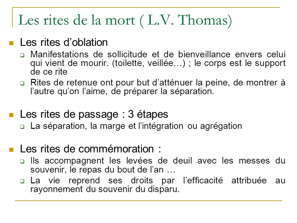Les rites de la mort ( L.V. Thomas)