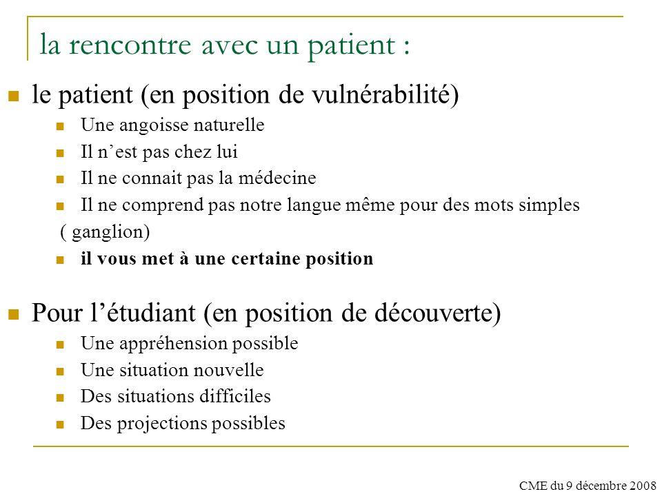 la rencontre avec un patient :