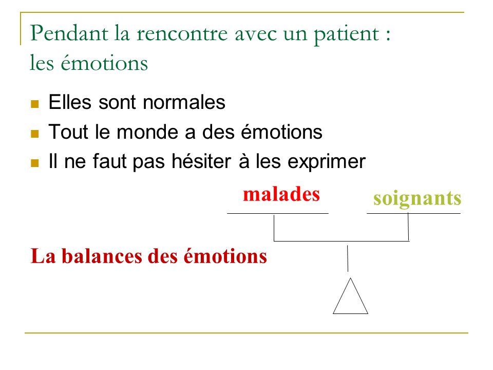Pendant la rencontre avec un patient : les émotions