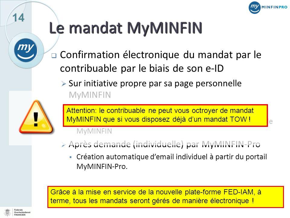 Le mandat MyMINFIN Confirmation électronique du mandat par le contribuable par le biais de son e-ID.