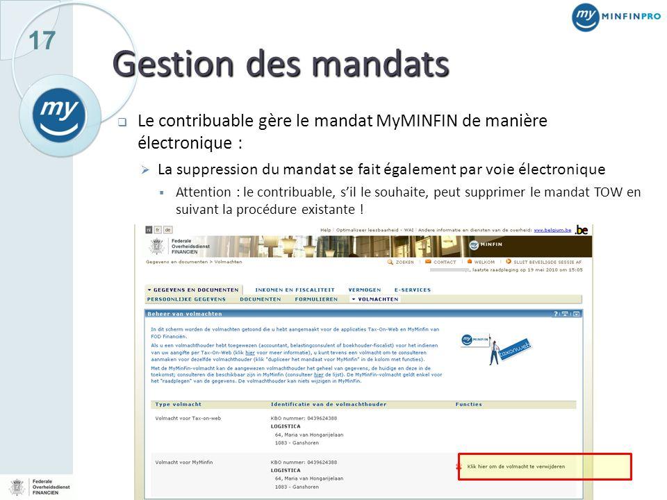 Gestion des mandats Le contribuable gère le mandat MyMINFIN de manière électronique :