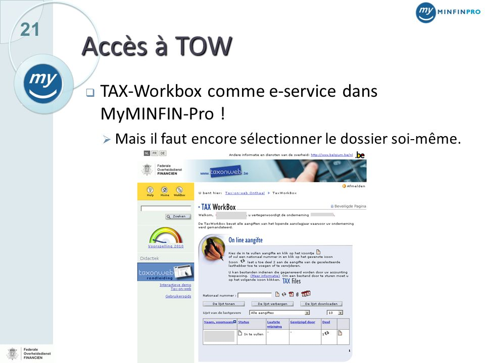 Accès à TOW TAX-Workbox comme e-service dans MyMINFIN-Pro !