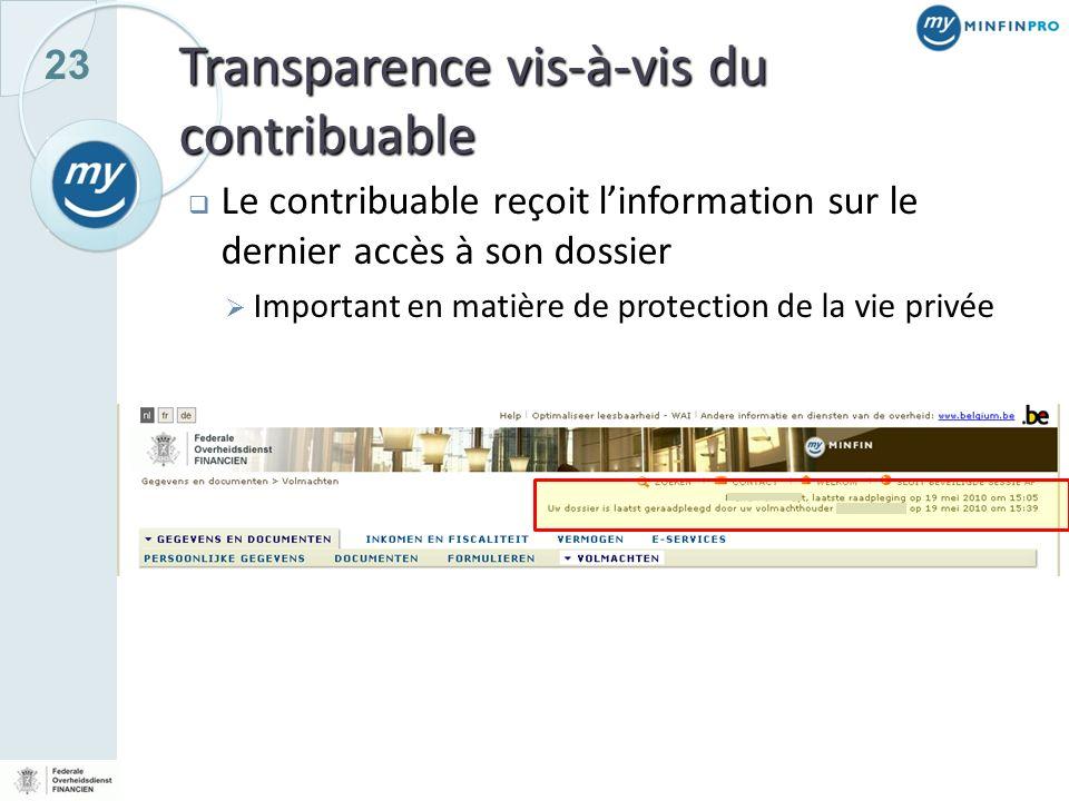 Transparence vis-à-vis du contribuable