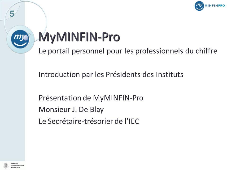 MyMINFIN-Pro Le portail personnel pour les professionnels du chiffre