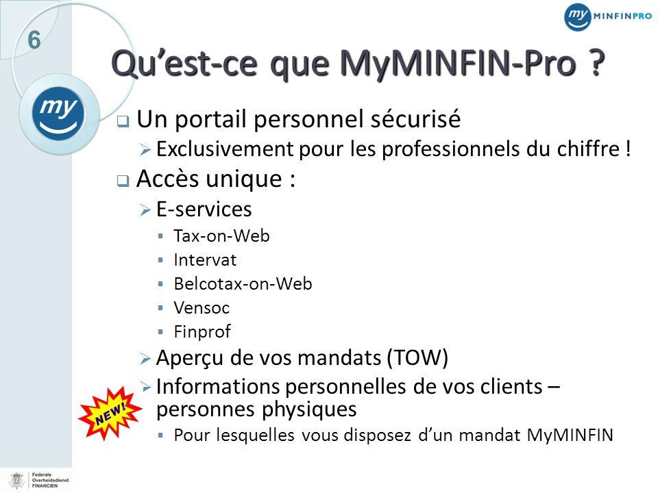 Qu'est-ce que MyMINFIN-Pro