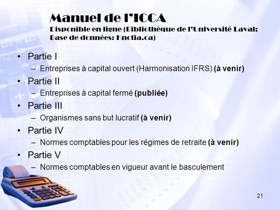 Manuel de l'ICCA Disponible en ligne (Bibliothèque de l'Université Laval; Base de données: Knotia.ca)