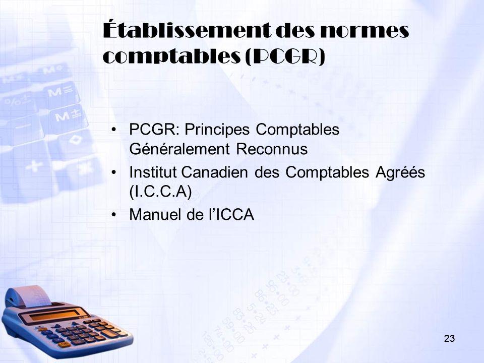 Établissement des normes comptables (PCGR)