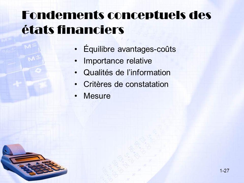 Fondements conceptuels des états financiers
