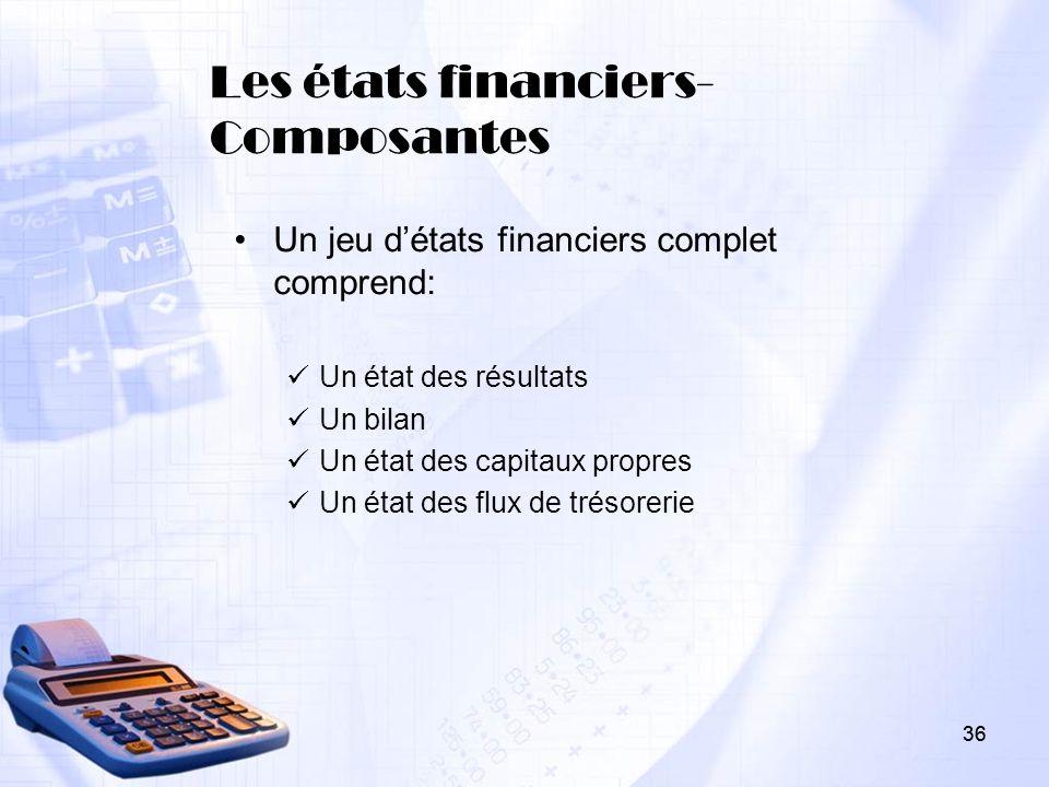 Les états financiers- Composantes