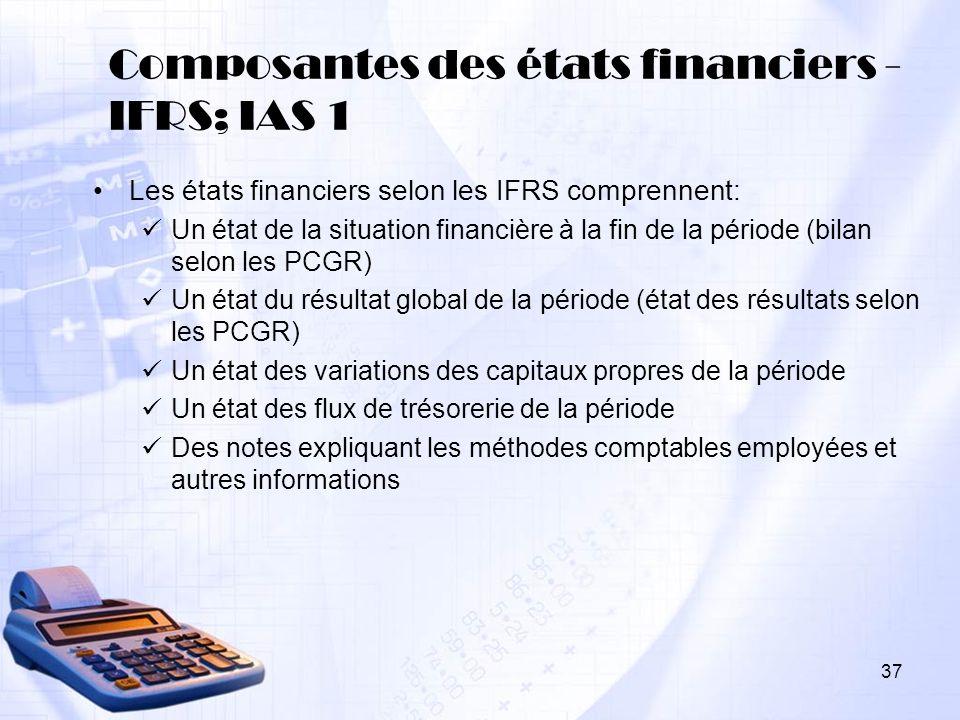Composantes des états financiers -IFRS; IAS 1