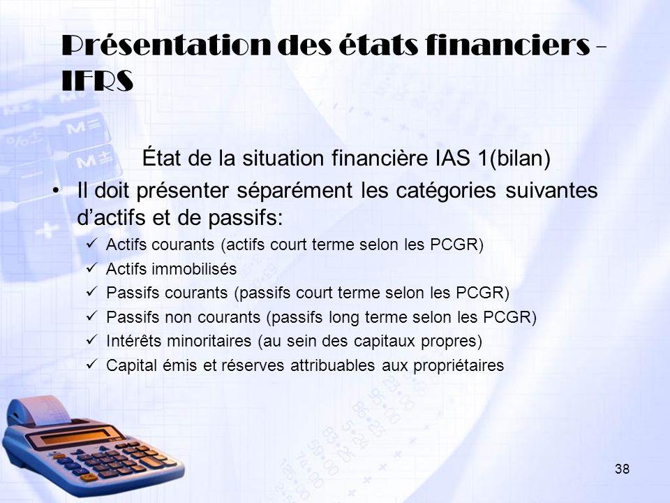 Présentation des états financiers - IFRS