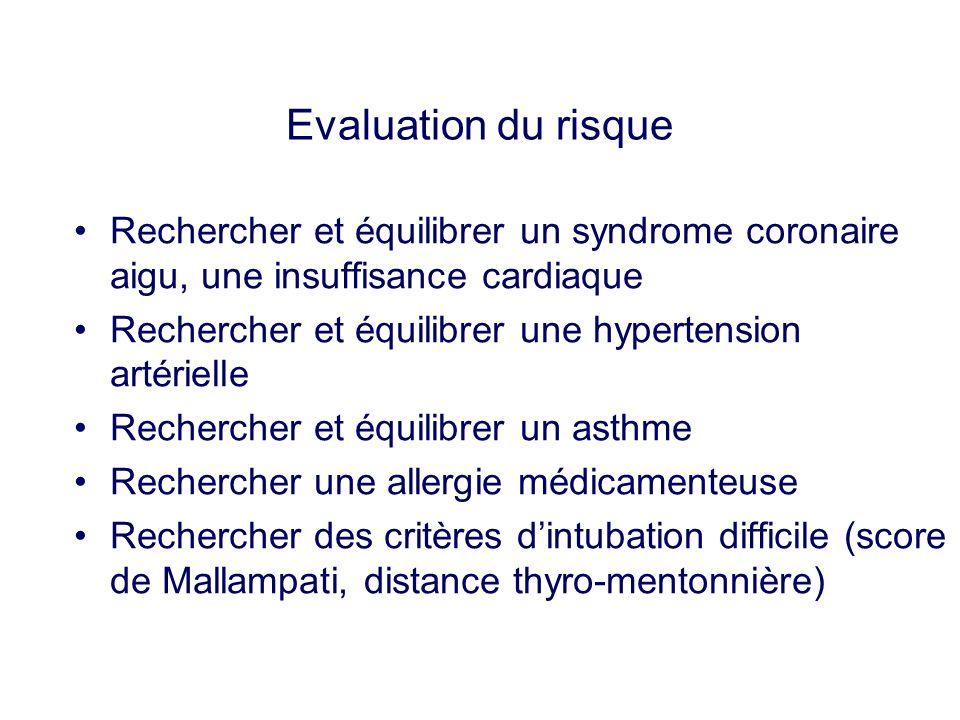Evaluation du risque Rechercher et équilibrer un syndrome coronaire aigu, une insuffisance cardiaque.