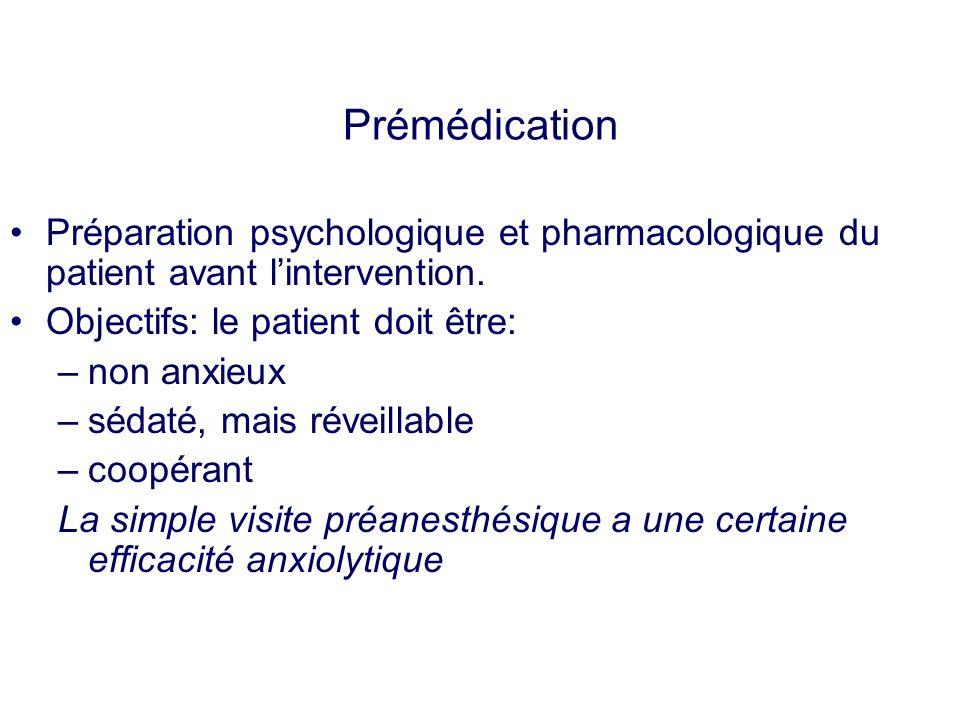 Prémédication Préparation psychologique et pharmacologique du patient avant l'intervention. Objectifs: le patient doit être:
