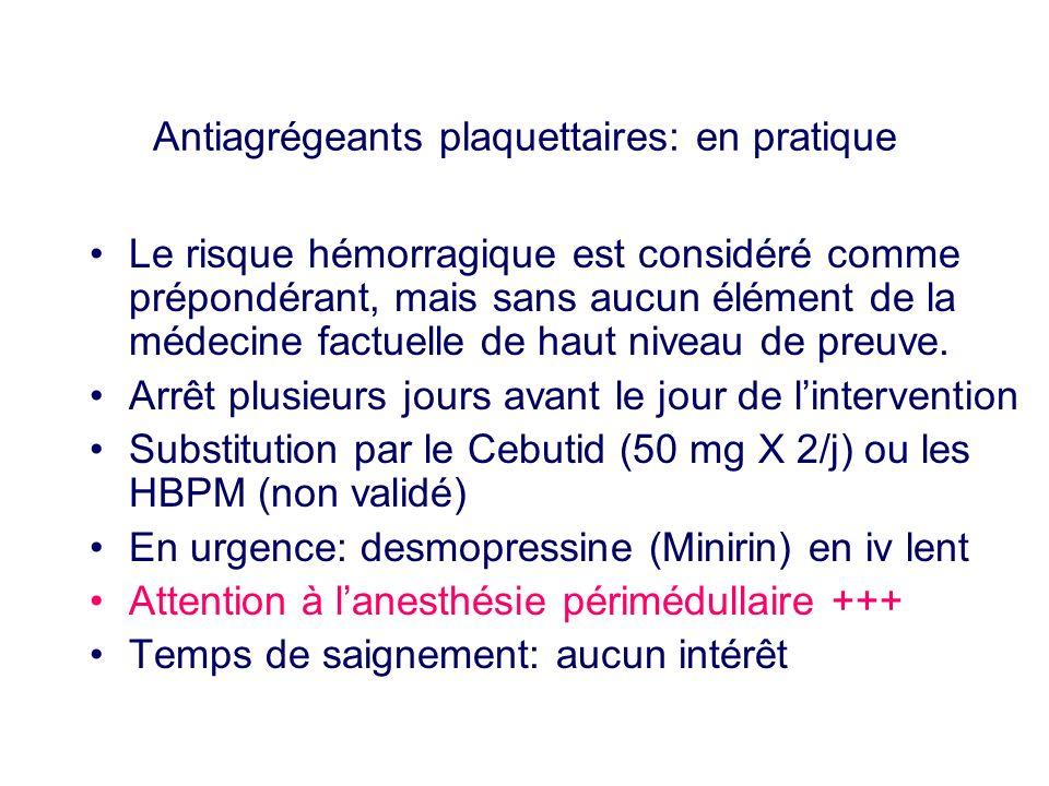 Antiagrégeants plaquettaires: en pratique